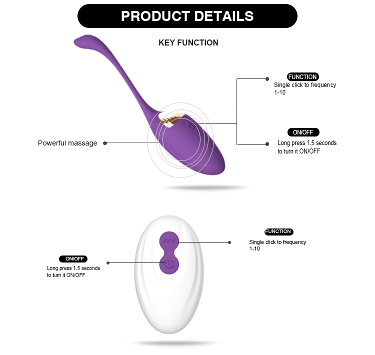 Remote Control 10 Functions Love Eggs Vibrator Long Thin Electric Vibrator