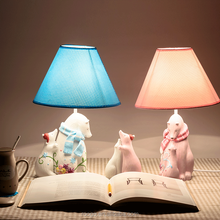 2015 HOT colorful cute polar bear family resin modern table lamp home decoration