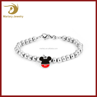 MICB006 Good Quality 316L Stainless Steel Bead Bracelet Cute Mickey Mouse Bracelet Charms
