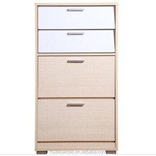 HX-MZ873 four drawers tall wooden shoe cabinet/ foldable shoe rack