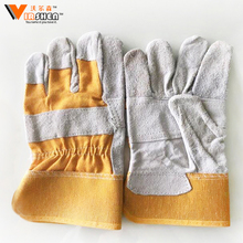 cowhide leather safety gloves work, Yellow leather cheap work gloves with rubber