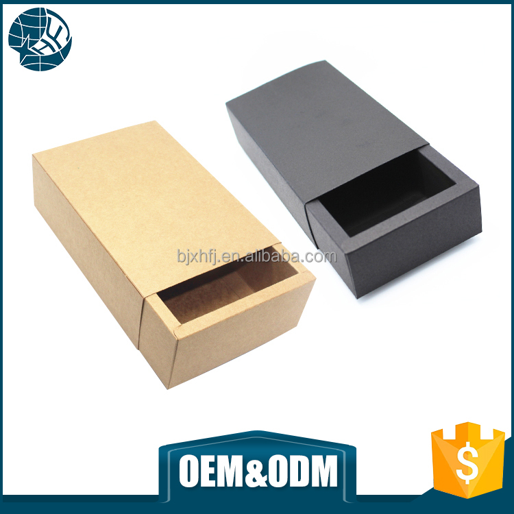 Wholesale custom small kraft paper 300 gsm slide open craft paper packaging box