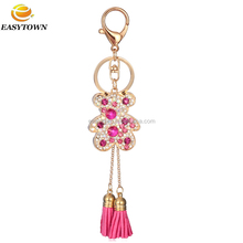 Custom metal 2015 car keyrings leather rhinestone keychain couple bear key chain for Women accessories