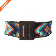 Multicolor Women Wedding Beaded Stretch Belt With Big Wood Buckle