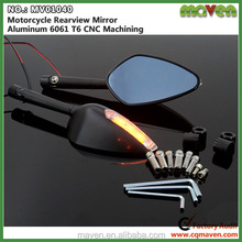 Aluminum CNC Motorcycle Integrated Turn Signal Mirrors Motorcycle Rearview Mirror With Led Lights MV01040