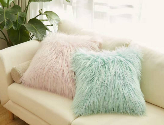 Faux fur pillow cases lamb colorful pillows faux fur dyed pillows