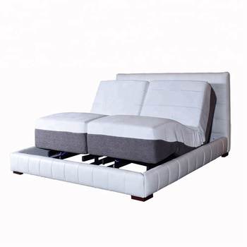 Latest 2018 electric leather upholstered bed frame with adjustable bed base