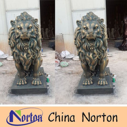 resin material life size Imitation bronze lion statue NTRS006S