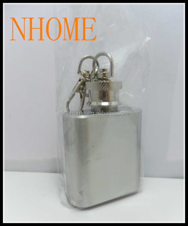 lovely hot sale novelty promotional 2oz mini recycled stainless steel hip flask with keychain, best gift choice