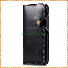 High Quality Business Genuine Leather Flip stand Credit Card phone case for iphone 7