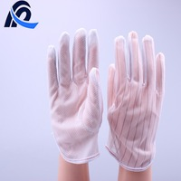 White ESD Lint Free PVC Dotted Gloves for Cleanroom Use