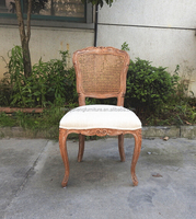 factory price French style rattan cane back fabric seat louis solid wood dining chair