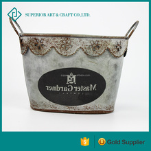 Wholesale chic metal flower pot balcony flower holder decorative metal containers For Home Garden