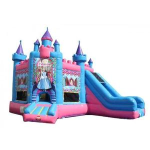 OHO Guangzhou Commercial Princess Inflatable Castle Jumping Bouncer Slide Combo for Kids
