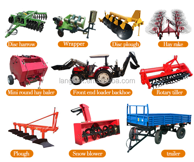 Wholesale made in china 4x4 mini tractor price 18hp 35hp for Garden implements list