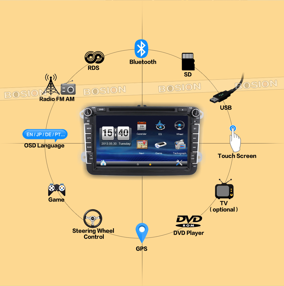 8inch GPS Navigation HD Double 2DIN car audio Bluetooth iPod MP3 TV for vw