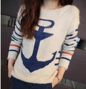 D60436A NEW WOMEN'S SWEATER CONTRAST COLOR STRIPE ANCHOR COLLEGE CASUA LONG SWEATER