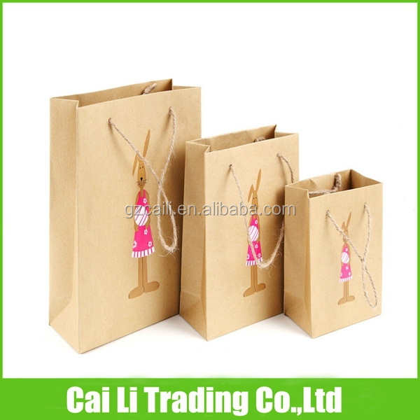 gift packaging soft loop kraft paper bag with handle