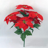 christmas poinsettia ornaments high quality velvet fabric wholesale artificial poinsettia flowers