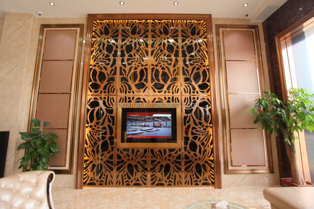 Rose gold color mirror 304 stainless steel screen room divider decorative laser cut metal screens for hotels living room