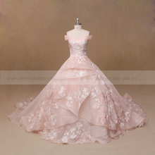 Cheap islamic light pink wedding dress