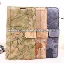 Map design wallet leather case for samsung galaxy s5