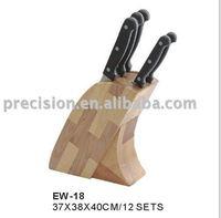 6pcs kitchen knife set with oak wood block