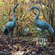 Western Style outdoor bronze crane fountain pair statues