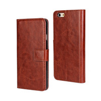 Crazy Horse Pattern Folding leather flip phone case cover for iphone 6 magnetic closure phone case
