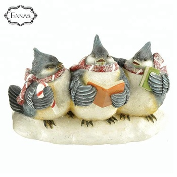 Polyresin blue bird family figurines for gifts and decoration