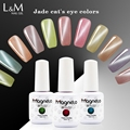 L&M 12 color charming effect nail polish jade cat eye uv gel nails 15ml