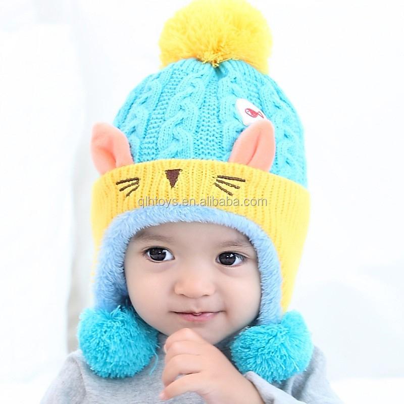 Apparel Accessories Girl's Hats Straightforward Cute Baby Winter Hat Warm Child Beanie Cap Animal Cat Ear Kids Crochet Knitted Hat For Children Boys Girls Hot New