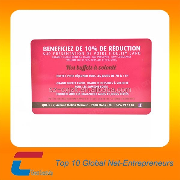 Shenzhen gold factory good supply high quality business discount card and pvc visiting card