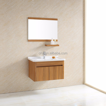 Modern hotel style wood grain pattern bathroom vanity with cabinet 093