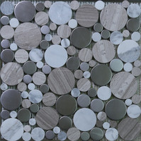 round stainless steel mix stone mosaic wall tile price