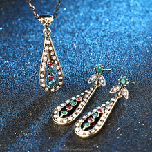 Fashion Vintage Jewelry Sets For Women Antique Gold Color Crystal Rhinestone Water Drop Pendant Necklace Earrings set