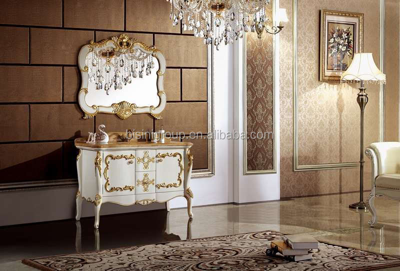 Luxury Classic Pure White Solid Wood Bathroom Vanity with Beautiful Golden Carving Mirror and Decorations (BF08-4154)