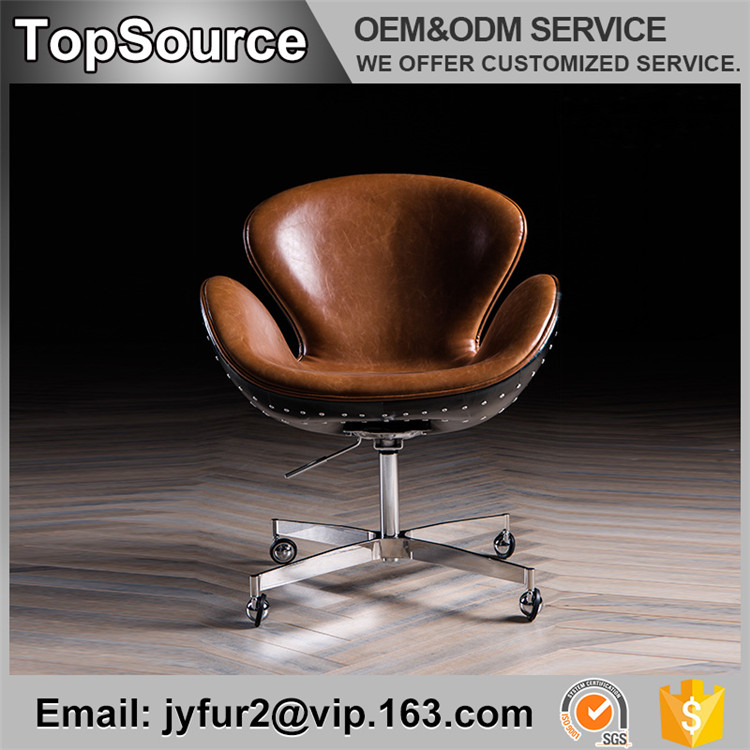 Sliding Leather Vintage Industrial Aviator Decorative Chair