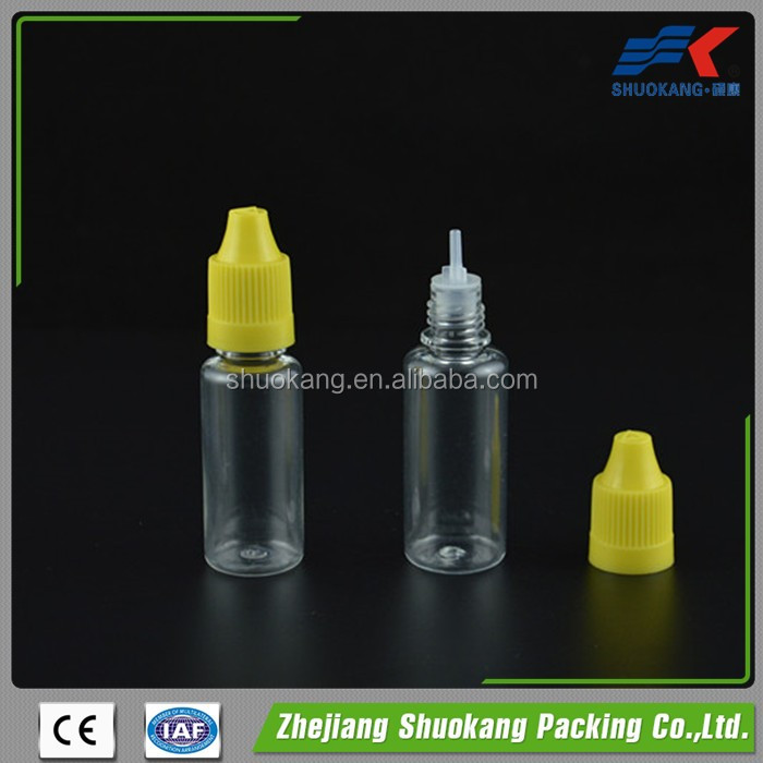 Small plastic squeeze bottles food grade with child resistant cap for eliquid,ejuice,essential oil