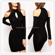 The Picture of Casual Designs High Neck Sexy Cold Shoulder Bodycon Without Dress For Women
