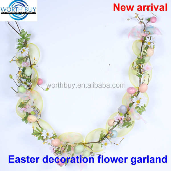 Spring egg decorated artificial plastic flower garland for easter & wedding decoration