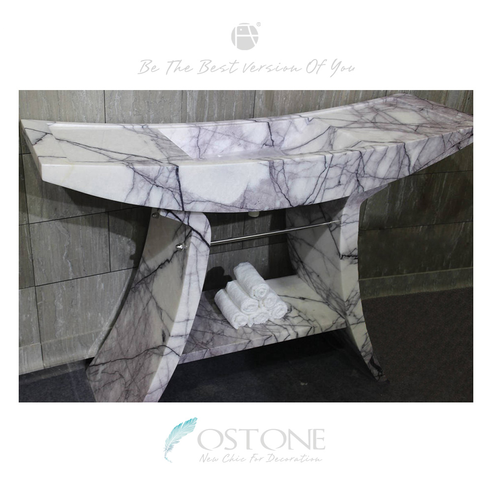 Fascinating Free Standing Lilac Marble Natural Stone Pedestal Sink