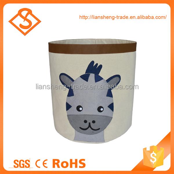 Excellent quality cartoon toy storage cotton linen kids laundry basket