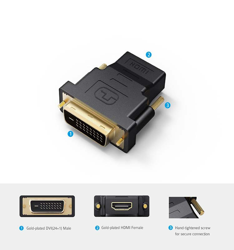 Gold-Plated DVI male to HDMI Female Adapter Converter
