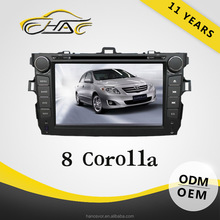 8 inch double din car dvd with gps bluetooth car radio for toyota corolla