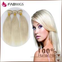 Fabwigs top quality wholesale price unprocessed 6A #613 silky straight blond Brazilian hair weft