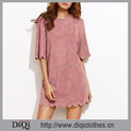 New arrivals stylish casual women sexy Pink Suede Half Sleeve Scallop Mini Dresses