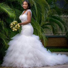 FA103 2017 African Style White Beading Tiered Vestido De Noiva Wedding Dress V-Neck Lace Up Custom Made Bridal Gown Plus Size
