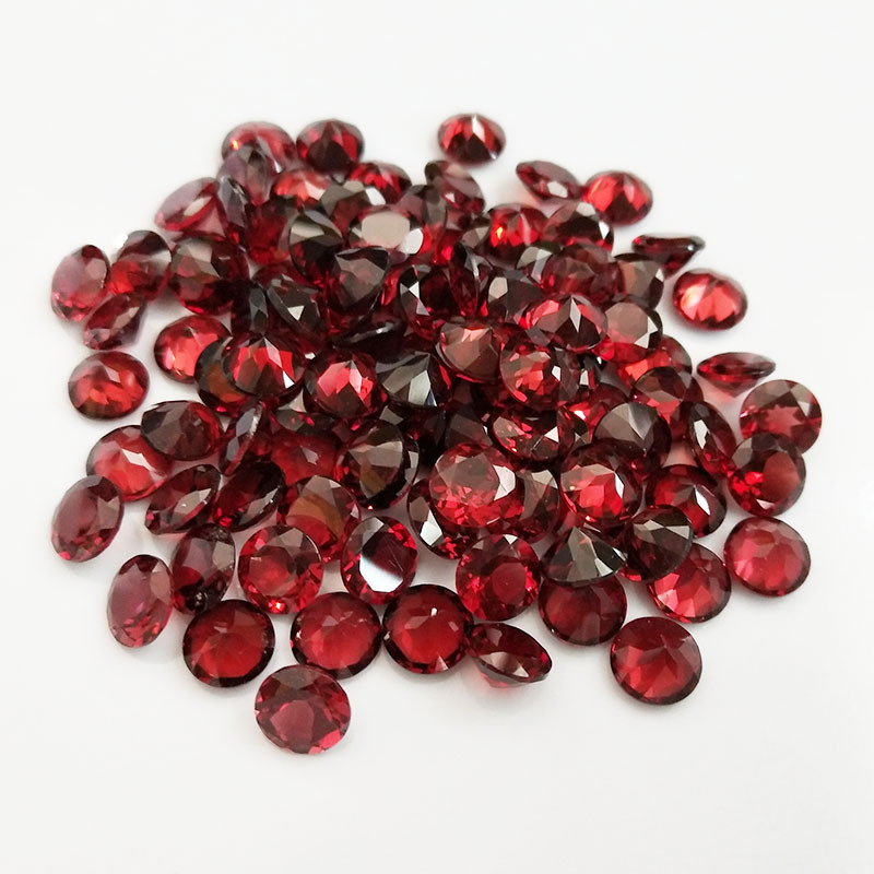 Natural Gems Loose Gemstone AAA+ Red Mozambique Garnet using for DIY Jewelry Making and Blank ring for inlay Round Brilliant <strong>Cut</strong>