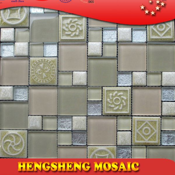 Latest design decoration wall tile floor tile glass mix ceramic mosaic sun stone coated metal roof tile
